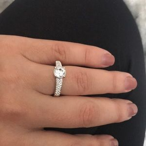 Jewelry - Swarovski Rhodium Plated Round Cut Crystal Ring